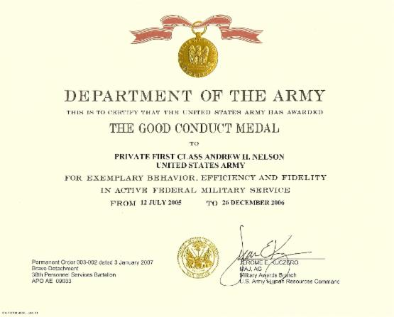 Awards a websitebuilder website for Army good conduct medal certificate template